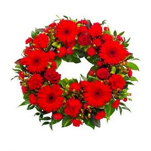 classic red round wreath