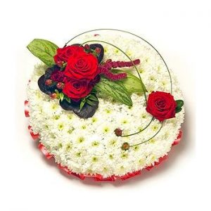 red and white based posy