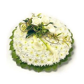 white and green based posy